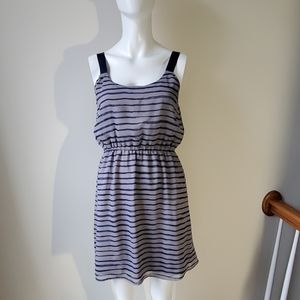 Navy and grey striped pullover dress